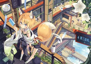 Rating: Safe Score: 167 Tags: animal_ears blue_eyes clouds collar flat_chest flowers foxgirl japanese_clothes kneehighs long_hair male original poco popsicle short_hair shorts sky stairs tail train white_hair User: RyuZU
