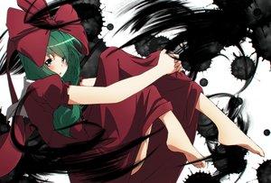 Rating: Safe Score: 78 Tags: aono_meri barefoot blush bow dress green_hair kagiyama_hina long_hair touhou User: Flandre93