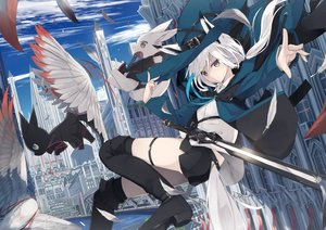 Rating: Safe Score: 78 Tags: animal animal_ears bird blush boots building cat city clouds feathers foxgirl hat long_hair nagishiro_mito original rabbit shorts sky sword tail thighhighs water weapon white_hair witch_hat yellow_eyes User: RyuZU