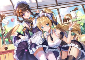 Rating: Safe Score: 108 Tags: 2girls drink food garter_belt gejigejier girl_cafe_gun_(game) juno_emmons kikuri_yuki maid waitress User: BattlequeenYume