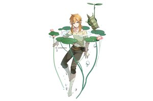 Rating: Safe Score: 9 Tags: all_male aqua_eyes barefoot blonde_hair bubbles flowers korok leaves leopardtiger link_(zelda) male navel pointed_ears ponytail shirt the_legend_of_zelda third-party_edit water watermark white User: otaku_emmy