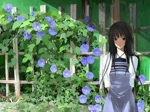 Rating: Safe Score: 122 Tags: bakemonogatari black_eyes black_hair dress flowers long_hair mikipuruun_no_naegi monogatari_(series) senjougahara_hitagi User: rargy