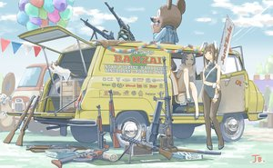 Rating: Safe Score: 6 Tags: 2girls animal_ears blush brown_eyes brown_hair bunny_ears bunnygirl car clouds gun jettoburikku long_hair original signed sky weapon User: RyuZU