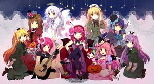 Rating: Safe Score: 153 Tags: angel_beats! blonde_hair blue_eyes bow brown_eyes brown_hair dress flowers gray_hair guitar halloween hat hisako instrument irie_miyuki iwasawa_masami long_hair nakamura_yuri pink_eyes pink_hair purple_eyes purple_hair red_eyes ribbons rose sekine_shiori shiina tachibana_kanade tomako wings witch yellow_eyes yui_(angel_beats!) yusa User: Tensa