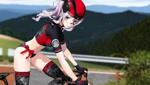 Rating: Safe Score: 33 Tags: bicycle blue_eyes gloves goggles gray_hair hitomi_kazuya original skintight thighhighs User: Dreista