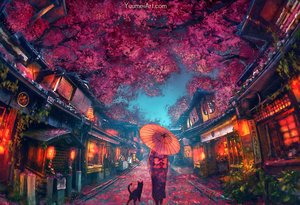 Rating: Safe Score: 139 Tags: animal building cat flowers japanese_clothes kimono original tree umbrella watermark wenqing_yan_(yuumei_art) User: BattlequeenYume