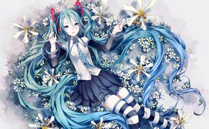 Rating: Safe Score: 97 Tags: blue_hair flowers hatsune_miku long_hair skirt tagme thighhighs tie vocaloid User: Shinigami-Seed