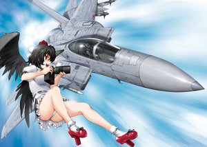 Rating: Safe Score: 44 Tags: aircraft ass black_hair breasts byeontae_jagga camera combat_vehicle jpeg_artifacts panties red_eyes shameimaru_aya short_hair sky touhou underwear upskirt wings User: RyuZU