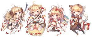 Rating: Safe Score: 34 Tags: andira_(granblue_fantasy) anila_(granblue_fantasy) animal_ears blonde_hair braids brown_eyes cat_smile chibi granblue_fantasy horns japanese_clothes loli long_hair mahira_(granblue_fantasy) navel pointed_ears ponytail short_hair skirt spear staff sword tail thighhighs topia vajra_(granblue_fantasy) weapon yellow_eyes User: BattlequeenYume