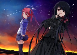 Rating: Safe Score: 160 Tags: black_hair date_a_live dress itsuka_kotori long_hair red_eyes red_hair skirt sky stars thighhighs tokisaki_kurumi User: Mhand16