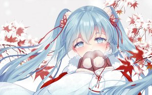 Rating: Safe Score: 133 Tags: aqua_eyes aqua_hair bisonbison blush gloves hatsune_miku leaves long_hair ribbons snow tree twintails vocaloid User: RyuZU