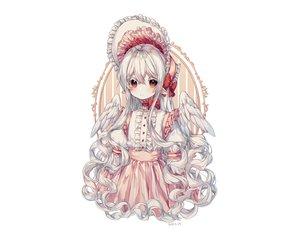 Rating: Safe Score: 25 Tags: albinoraccoon all_male bow gray_hair headdress lolita_fashion long_hair male original pointed_ears red_eyes skirt trap white wings User: otaku_emmy
