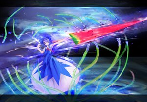 Rating: Safe Score: 43 Tags: advent_cirno blue_eyes blue_hair bow cirno dress fairy food fruit nyanyakitishiro ribbons short_hair sky sword touhou water watermelon weapon User: ガラス