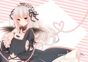 Rating: Safe Score: 72 Tags: blush bow choker doll dress goth-loli hari_iro headdress lolita_fashion long_hair red_eyes ribbons rozen_maiden suigintou white_hair wings User: BattlequeenYume