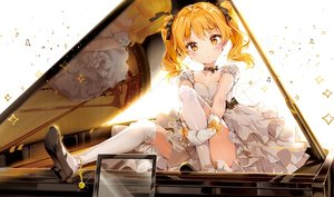 Rating: Safe Score: 85 Tags: anmi blonde_hair blush bow choker cropped dress gloves hikaru_(houkago_no_pleiades) houkago_no_pleiades instrument kneehighs music piano reflection ribbons scan twintails yellow_eyes User: BattlequeenYume