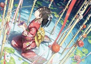 Rating: Safe Score: 257 Tags: ball brown_hair flowers japanese_clothes jpeg_artifacts kantoku kimono original paper ponytail purple_eyes water User: RyuZU