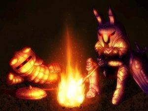 Rating: Safe Score: 8 Tags: 2girls animal_ears armor bunny_ears bunnygirl cosplay crossover dark dark_souls fire inaba_tewi red_eyes reisen_udongein_inaba shirosato sword touhou weapon User: otaku_emmy