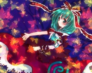 Rating: Safe Score: 7 Tags: dress green_eyes green_hair kagiyama_hina long_hair ribbons touhou User: Eruku
