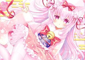 Rating: Safe Score: 33 Tags: animal_ears anthropomorphism azur_lane bell catgirl japanese_clothes kisaragi_(azur_lane) loli lolita_fashion long_hair pantyhose pink_eyes pink_hair ribbons shikito User: BattlequeenYume