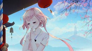 Rating: Safe Score: 46 Tags: a.i._madoka bell blush cherry_blossoms clouds game_cg long_hair mirror_(game) necklace pink_hair shrine sky tagme_(artist) translation_request tree User: Demuwu