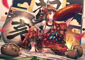 Rating: Safe Score: 83 Tags: animal animal_ears brown_hair drink japanese_clothes long_hair mazel necklace original red_eyes sake sarashi sword tattoo underboob underwear weapon User: Nepcoheart
