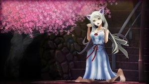 Rating: Safe Score: 71 Tags: animal_ears bakemonogatari barefoot blonde_hair bow catgirl cherry_blossoms dress flowers glasses hanekawa_tsubasa long_hair monogatari_(series) User: jironimo