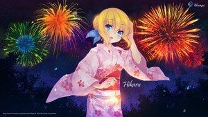 Rating: Safe Score: 111 Tags: aizawa_hikaru blonde_hair blue_eyes bow fireworks japanese_clothes leaves microsoft night os-tan stars tree yukata User: feiyuelisky