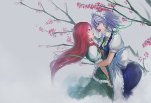 Rating: Safe Score: 96 Tags: 2girls blue_eyes braids breasts cherry cleavage food fruit gray gray_hair headdress hong_meiling hug izayoi_sakuya long_hair maid red_eyes red_hair ribbons shoujo_ai touhou youyi User: Dust