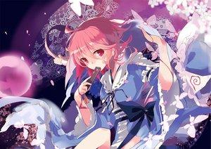 Rating: Safe Score: 46 Tags: bow butterfly petals pink_eyes pink_hair saigyouji_yuyuko short_hair tetsurou_(fe+) touhou User: RyuZU