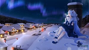 Rating: Safe Score: 52 Tags: asahi_kuroi building dress hatsune_miku long_hair night signed sky snow stars twintails vocaloid winter yuki_miku yukine_(vocaloid) User: BattlequeenYume