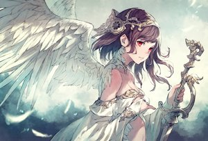 Rating: Safe Score: 80 Tags: angel brown_hair feathers kusano_shinta original red_eyes sword weapon wings User: BattlequeenYume