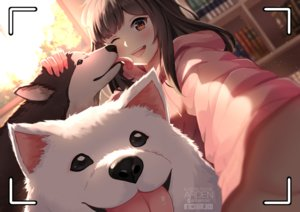Rating: Safe Score: 59 Tags: animal ardenlolo blush book brown_eyes brown_hair camera close dog hoodie long_hair original watermark wink User: mattiasc02