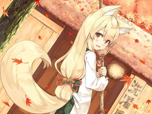Rating: Safe Score: 61 Tags: animal_ears apron autumn ayakashi_kyoushuutan bell blonde_hair blush brown_eyes building cura foxgirl japanese_clothes leaves long_hair okon tail tree User: otaku_emmy