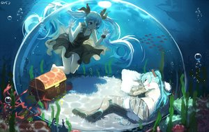 Rating: Safe Score: 106 Tags: bai_yemeng deep-sea_girl_(vocaloid) dress hatsune_miku long_hair skirt thighhighs twintails underwater vocaloid water User: RyuZU