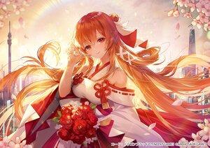 Rating: Safe Score: 125 Tags: applecaramel_(acaramel) code:_d-blood japanese_clothes long_hair miko orange_hair red_eyes uesugi_eri User: BattlequeenYume