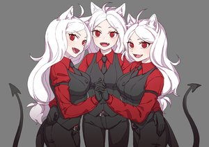 Rating: Safe Score: 52 Tags: aesice animal_ears cerberus_(helltaker) doggirl fang gloves gray helltaker long_hair red_eyes suit tail tie white_hair User: otaku_emmy