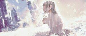 Rating: Safe Score: 13 Tags: building city gray_hair headdress maeda_mic original petals polychromatic watermark wedding_attire User: FormX