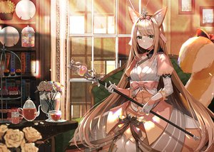 Rating: Safe Score: 81 Tags: animal_ears blonde_hair breasts cake cleavage dress drink flowers food green_eyes long_hair red:_pride_of_eden rose staff tail yadapot User: BattlequeenYume