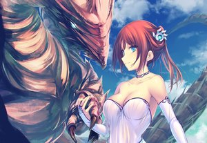 Rating: Safe Score: 26 Tags: aqua_eyes breasts choker cleavage dragon dress elbow_gloves gloves original red_hair tenmaso User: Zolxys