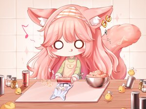 Rating: Safe Score: 12 Tags: animal animal_ears apron bird blush catgirl chibi drink food gray_hair headdress honyang music original pink_hair tail User: Nepcoheart