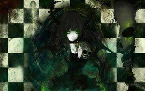 Rating: Safe Score: 72 Tags: black_hair black_rock_shooter choker green_eyes horns long_hair magic skull takanashi_yomi User: birdy73