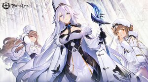 Rating: Safe Score: 34 Tags: anthropomorphism azur_lane bicolored_eyes blue_eyes breasts brown_eyes brown_hair cape forest gloves gremyashchy_(azur_lane) hat logo long_hair murmansk_(azur_lane) nahonanaho short_hair snow sovetsky_soyuz_(azur_lane) tree white_hair User: Nepcoheart