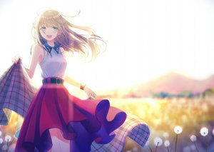Rating: Safe Score: 112 Tags: aqua_eyes blush brown_hair flowers kashiwabara_en long_hair original skirt wristwear User: RyuZU