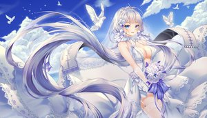 Rating: Safe Score: 178 Tags: animal anthropomorphism aqua_eyes azur_lane bird blush breasts cleavage clouds dress flowers garter_belt headdress illustrious_(azur_lane) long_hair mellozzo rose sky thighhighs tiara white_hair User: RyuZU