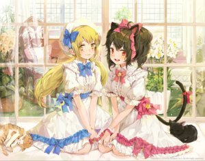 Rating: Safe Score: 53 Tags: 2girls animal animal_ears bell black_hair blonde_hair bosack bow cat catgirl dress flowers lolita_fashion long_hair original red_eyes short_hair tail twintails yellow_eyes User: BattlequeenYume