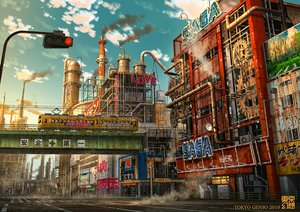 Rating: Safe Score: 52 Tags: clouds industrial nobody original ruins scenic sky tokyogenso train watermark User: RyuZU
