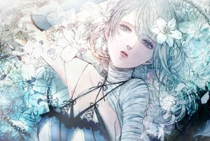 Rating: Safe Score: 35 Tags: bandage flowers gray_eyes gray_hair kaine nier polychromatic satsuki_kei sketch User: FormX
