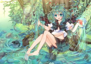 Rating: Safe Score: 81 Tags: animal aqua_eyes aqua_hair barefoot bottle_miku damage_hair fish hatsune_miku jpeg_artifacts long_hair vocaloid water User: FormX