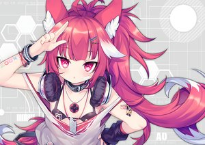 Rating: Safe Score: 46 Tags: animal_ears bandaid bikini_top collar flat_chest headphones loli long_hair original ponytail red_eyes red_hair tail utm waifu2x watermark wristwear User: BattlequeenYume