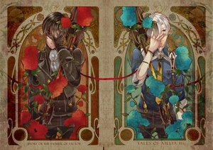 Rating: Safe Score: 46 Tags: all_male black_hair blue_eyes flowers gloves ludger_will_kresnik male red_eyes rose tales_of_xillia tie victor weapon white_hair znc User: STORM
